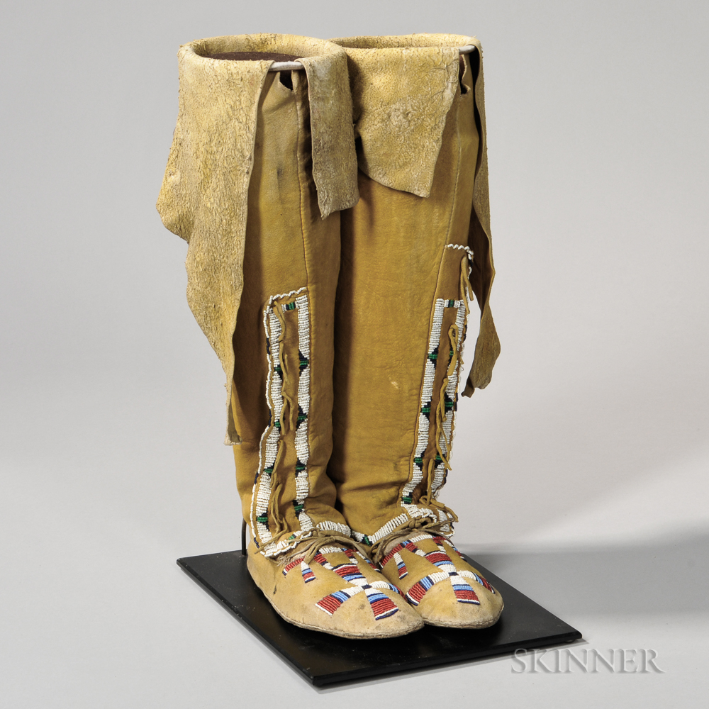 Arapaho Beaded Hide Woman's High-top Moccasins
