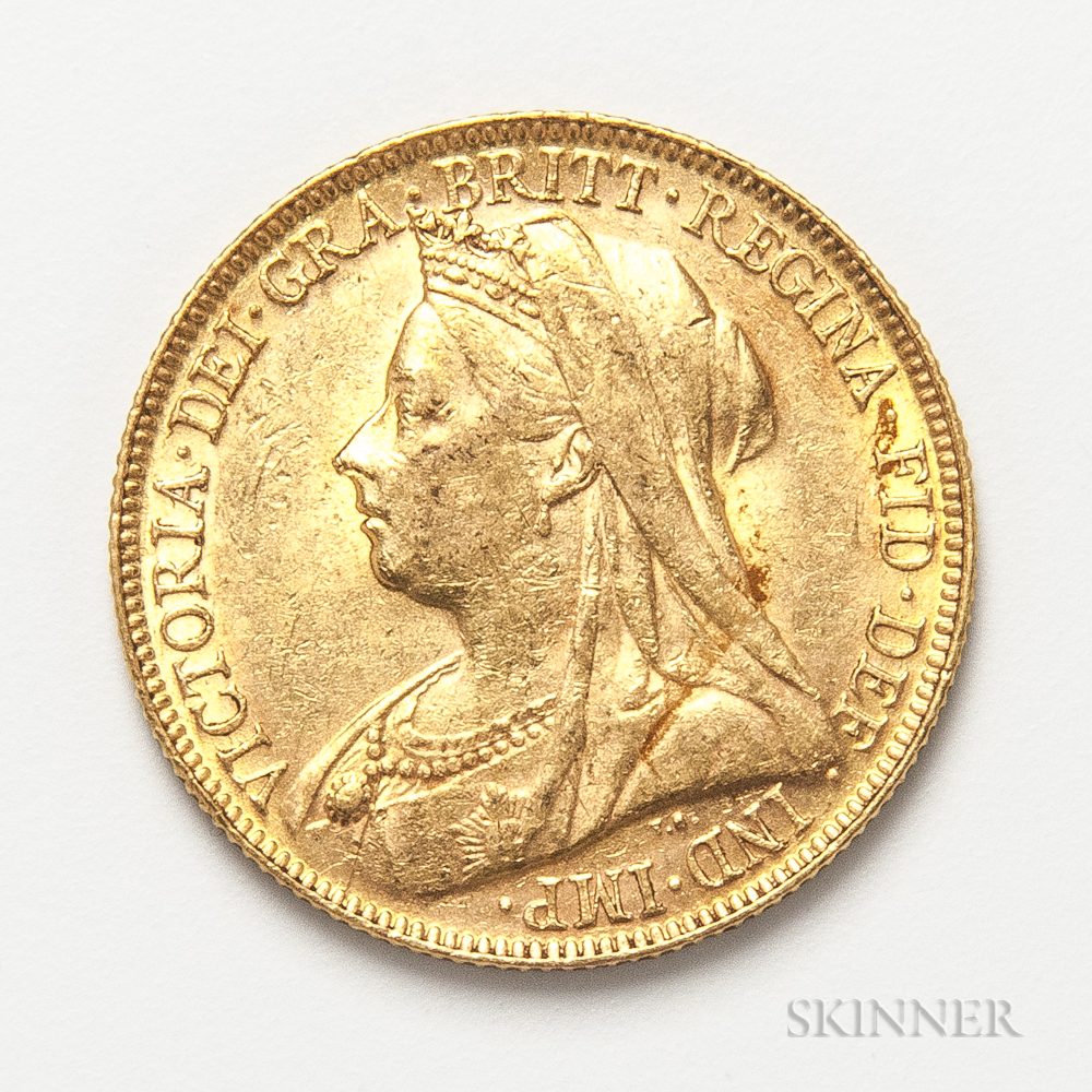 1899-P British Gold Sovereign.     Estimate $300-500