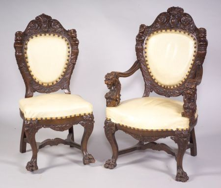 Set of Ten Renaissance Revival Carved Oak Dining Chairs