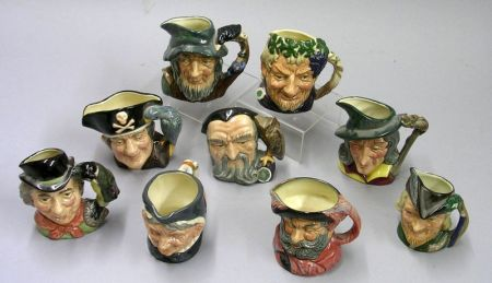 Nine Small Royal Doulton Character Jugs