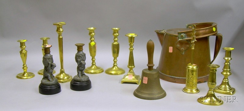 Group of Brass and Metal Candlesticks, Hearth, and Other Articles