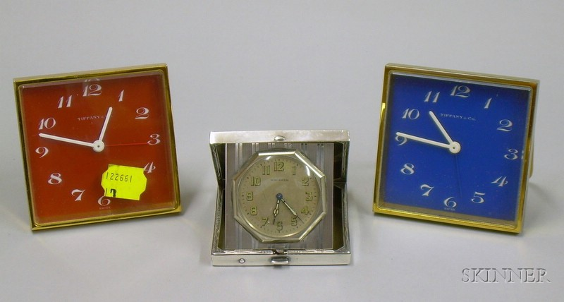 Art Deco Elgin Sterling Silver Travel Clock and Two Tiffany & Co. Gilt Metal 15-jewel Travel Clocks