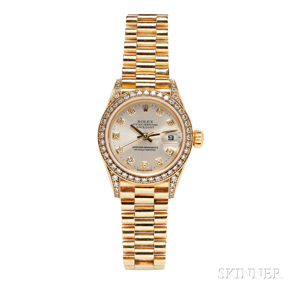 "Lady's 18kt Gold and Diamond ""Oyster Perpetual Datejust"" Wristwatch, Rolex"