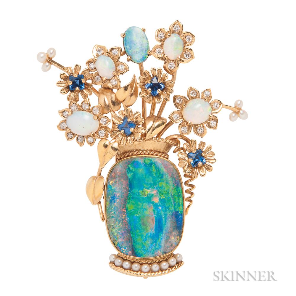 18kt Gold Gem-set Flower Basket Brooch