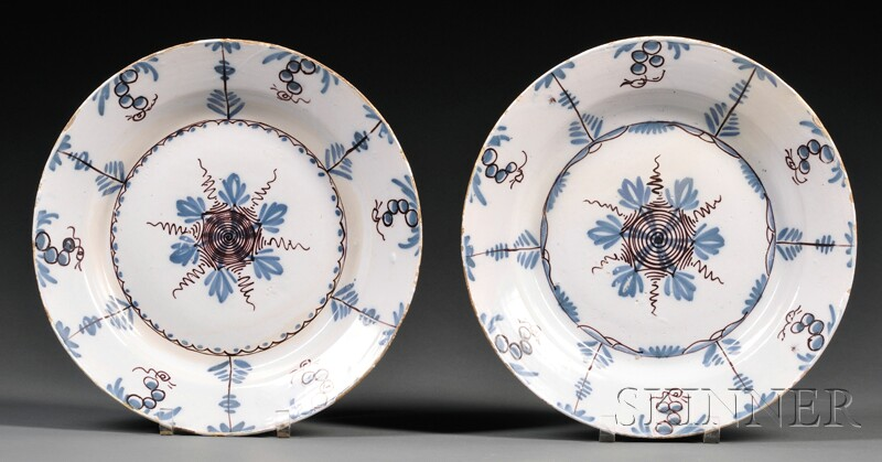 Pair of Delftware Polychrome Decorated Chargers