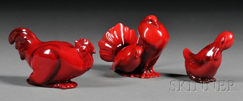 Three Royal Doulton Flambe Birds