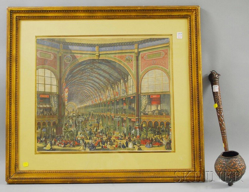 Repousse Copper Dipper and a Framed Hand-colored Lithograph Depicting the   Interior of the 1851 Great Exhibition Crystal Palace