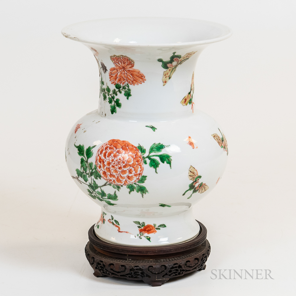 Chinese Vase with Butterflies and Stand