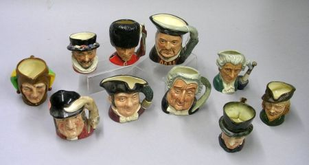 Ten Small Royal Doulton Character Jugs