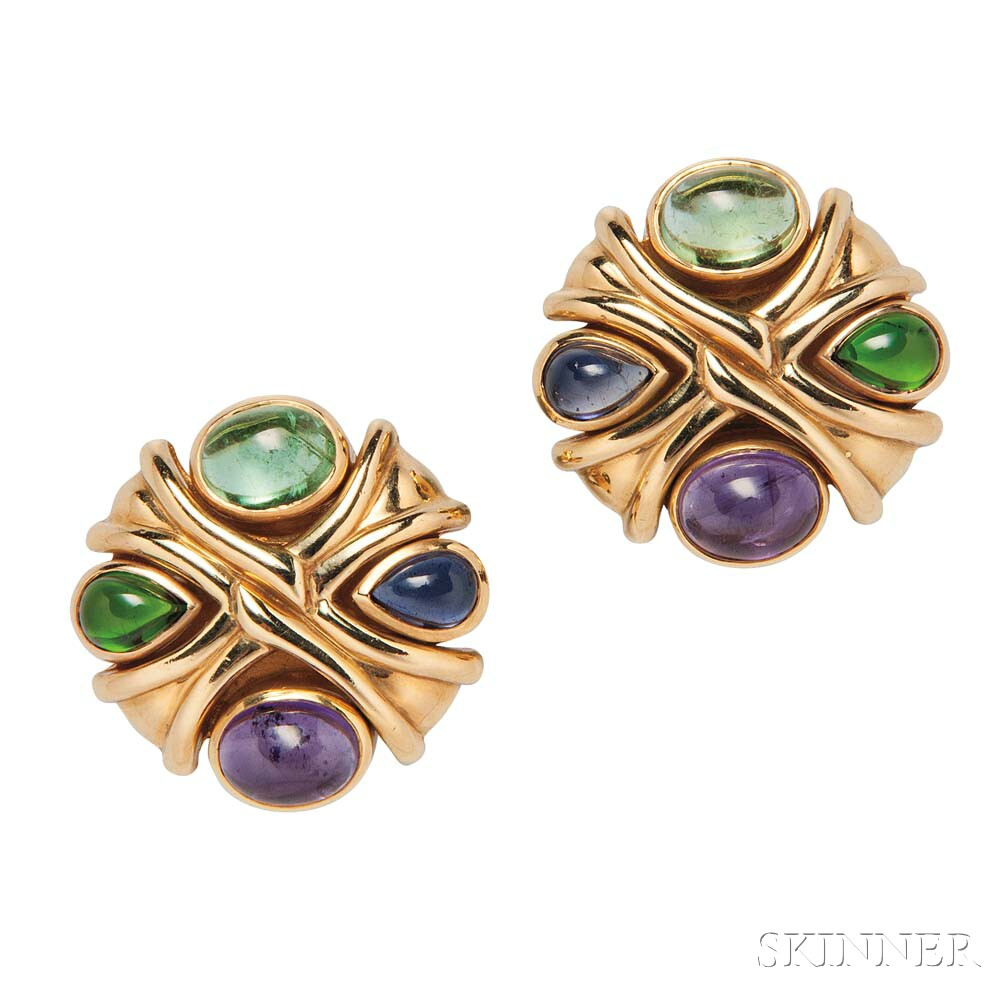 18kt Gold, Amethyst, and Tourmaline Earclips
