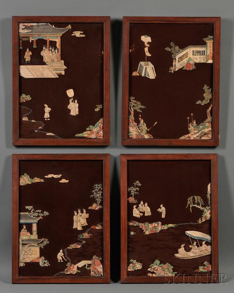 Four Framed Hardstone Panels