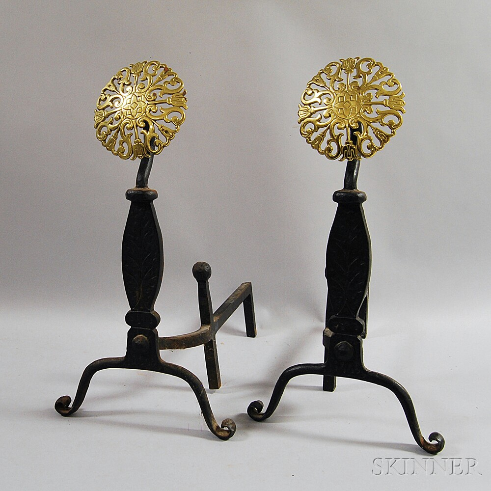 Pair of Brass and Cast Iron Floriform Andirons