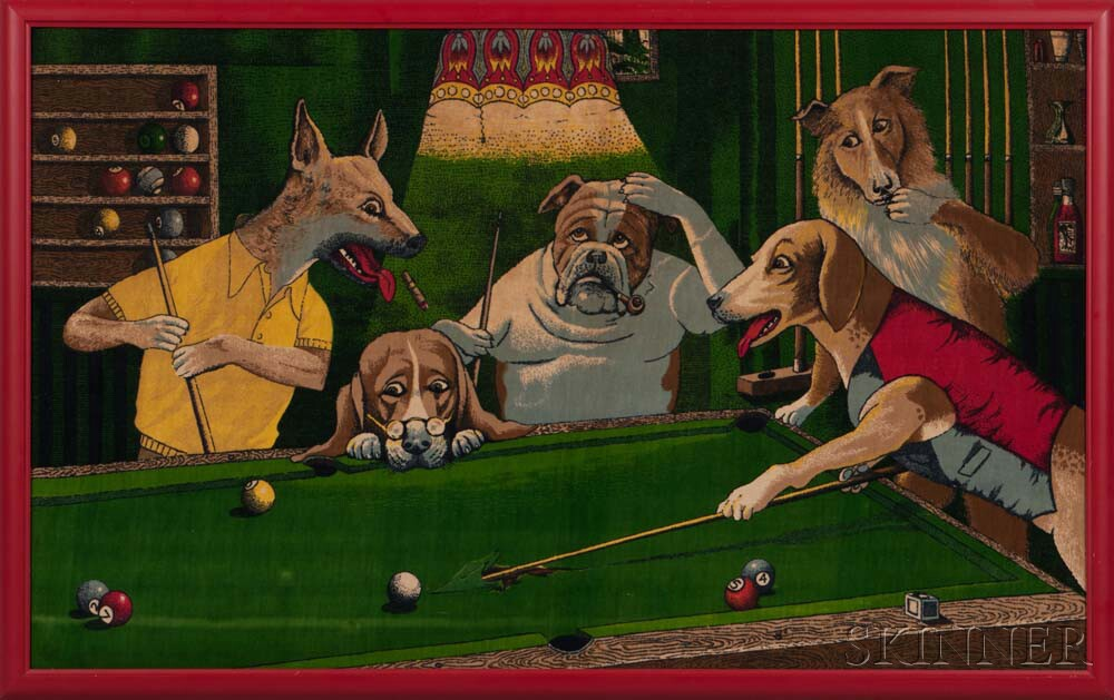 """Dogs In A Pool Hall"" Framed Decorative Panel"