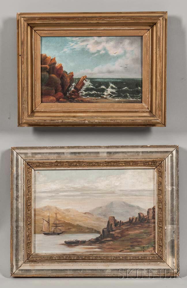 Two Framed American School Oil on Canvas Coastal Views