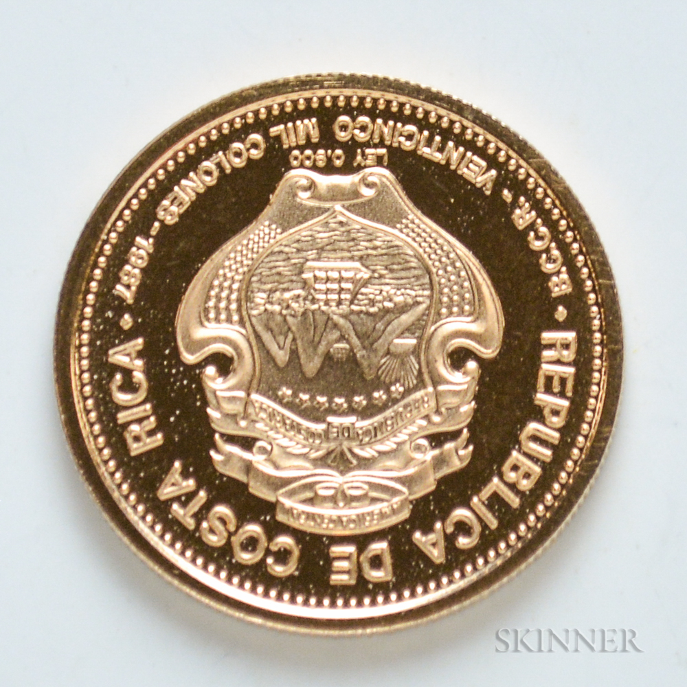 1987 Costa Rican 25,000 Colones Proof Gold Coin.