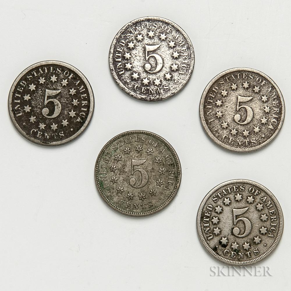 Five Shield Nickels