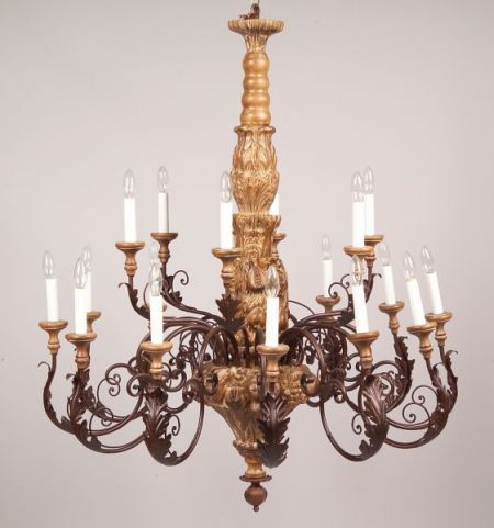 Large Continental-style Carved Wood and Painted Metal Eighteen-Light Chandelier