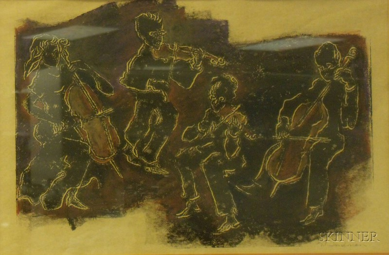 Framed Linocut with Pastel and Crayon on Paper Hot Music,   by Goldie T. Sandman,