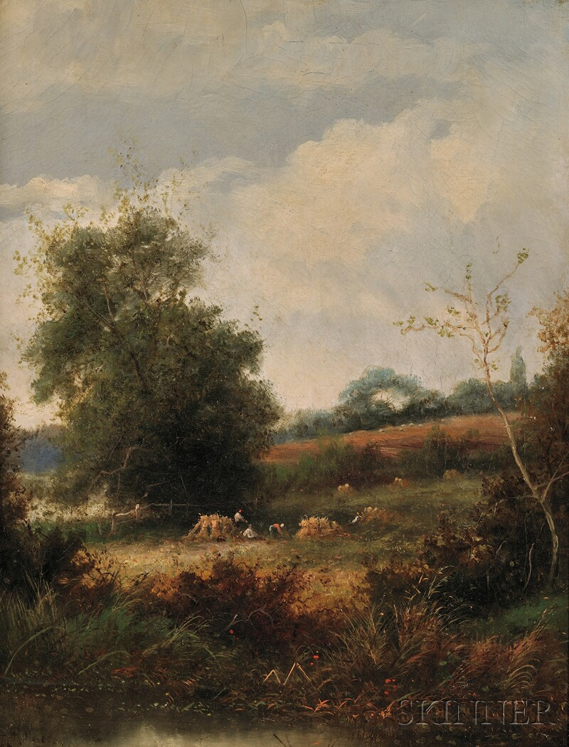 Attributed to Léon Germain Pelouse (French, 1838-1891)      Landscape with Peasants at Harvest