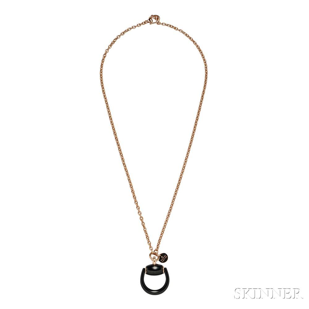 18kt Rose Gold Horse Bit Necklace, Gucci