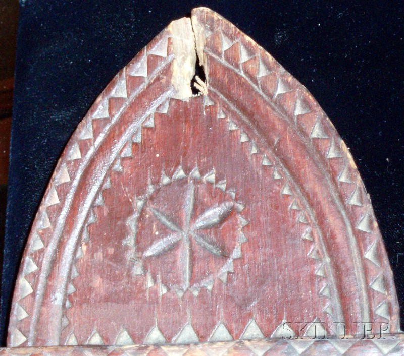 Red painted chip carved pine spoon rack sale number