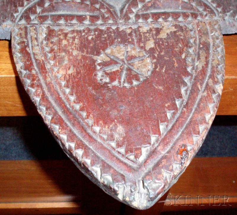 Red-painted Chip-carved Pine Spoon Rack