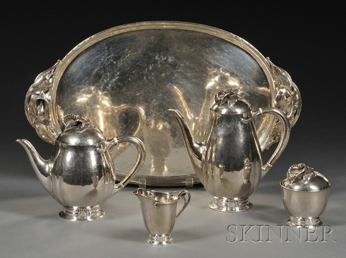 Per Smed Four-piece Silver Coffee and Tea Service with Matching Tray