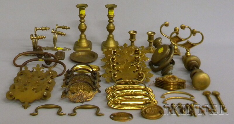 Group of Decorative Brass Items, Hardware, and Drawer Pulls