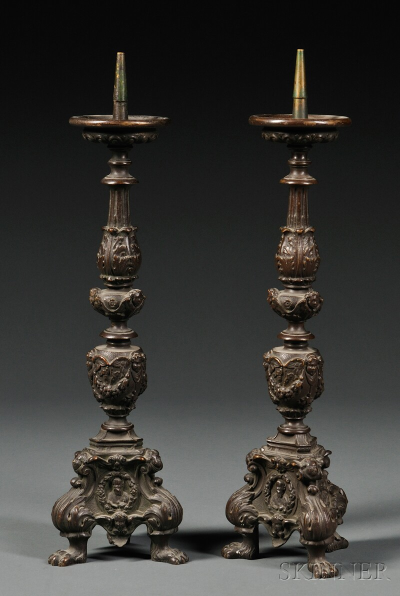Pair of Bronze Pricket Candlesticks