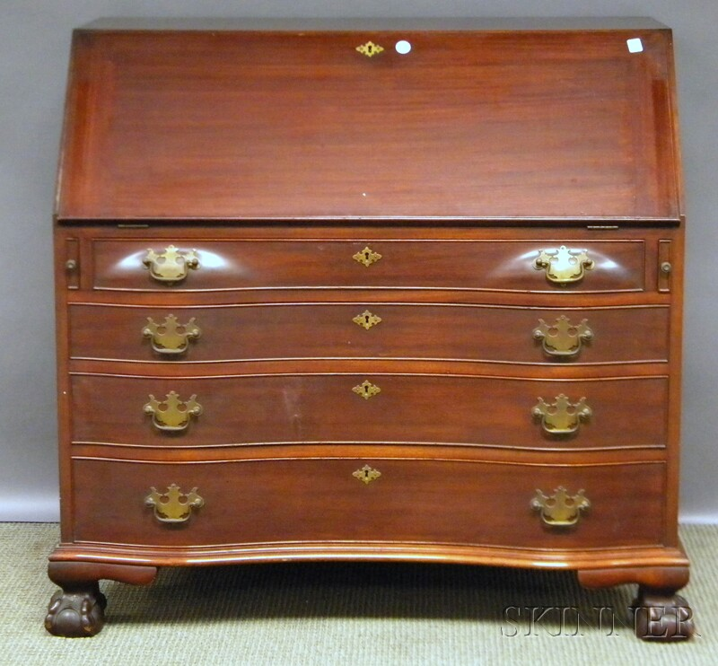Irving & Casson Carved Mahogany Oxbow Serpentine Slant-lid Desk with Claw-and-ball   Feet