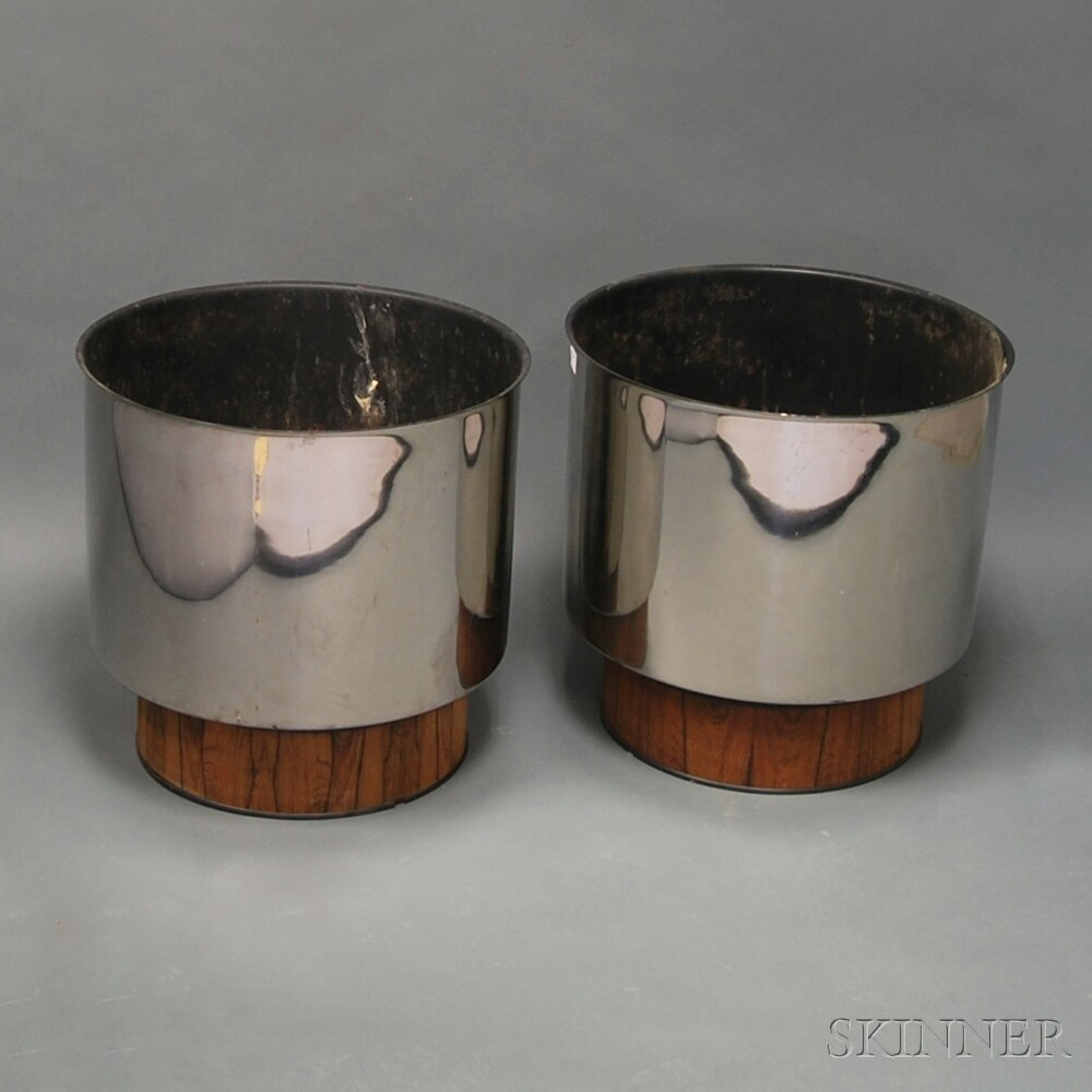 Pair of Polished Art Deco Planters