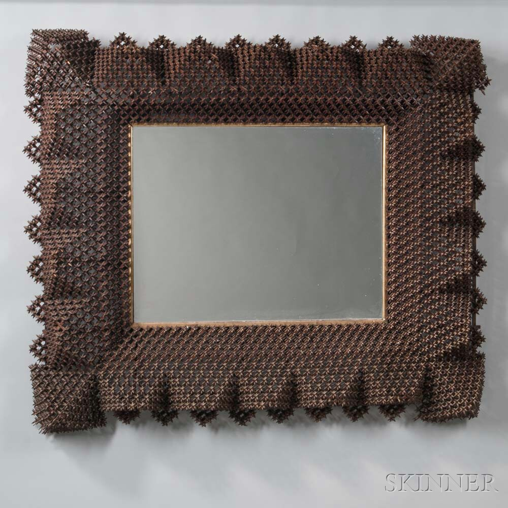 Tramp Art Wall Mirror