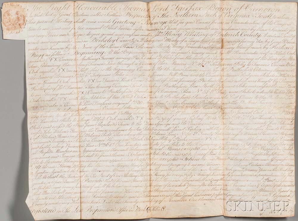 Fairfax, Thomas, 6th Lord Fairfax of Cameron (1693-1781) Signed Land Deed, November 22, 1775.