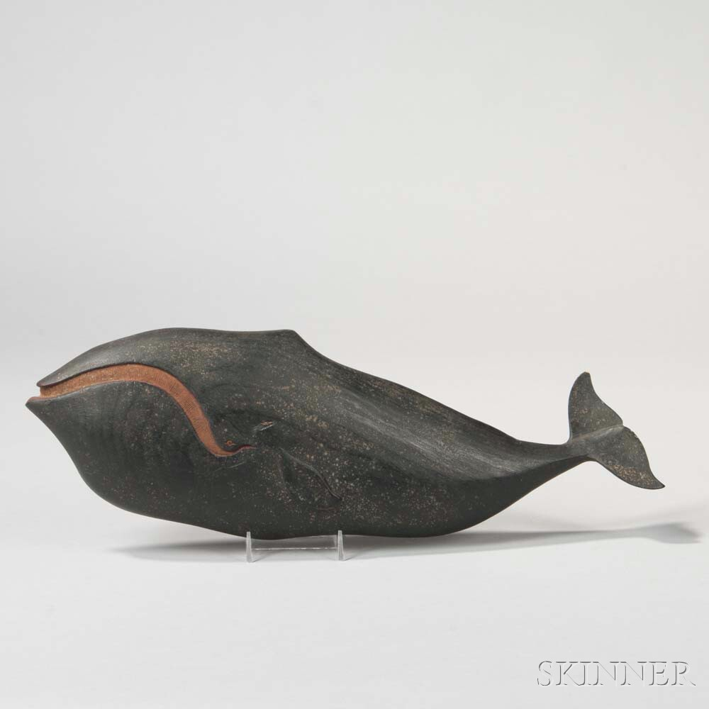 Relief-carved and Painted Wooden Right Whale Wall Plaque