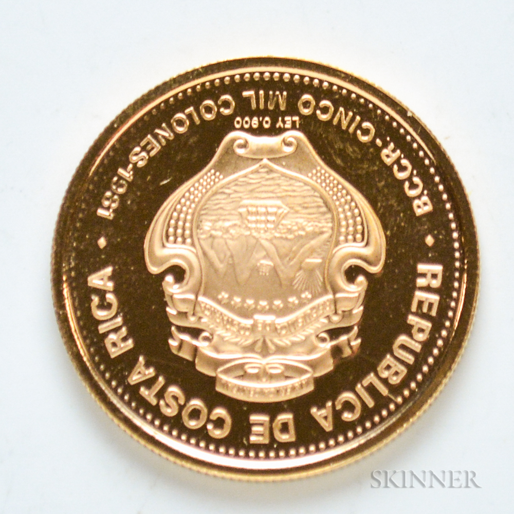 1981 Costa Rican 5,000 Colones Proof Gold Coin.