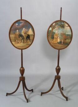 Pair of Mahogany and Mahogany Veneer George III Firescreens