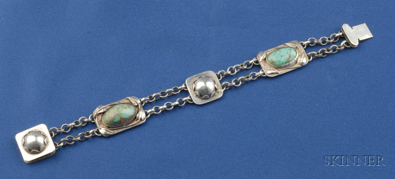 Arts & Crafts Sterling Silver and Turquoise Bracelet