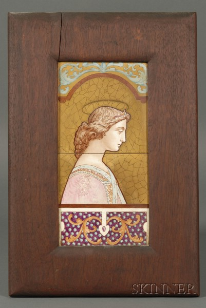 Mahogany Framed James Callowhill Hand-painted Portrait of Gabrielle on Tiles