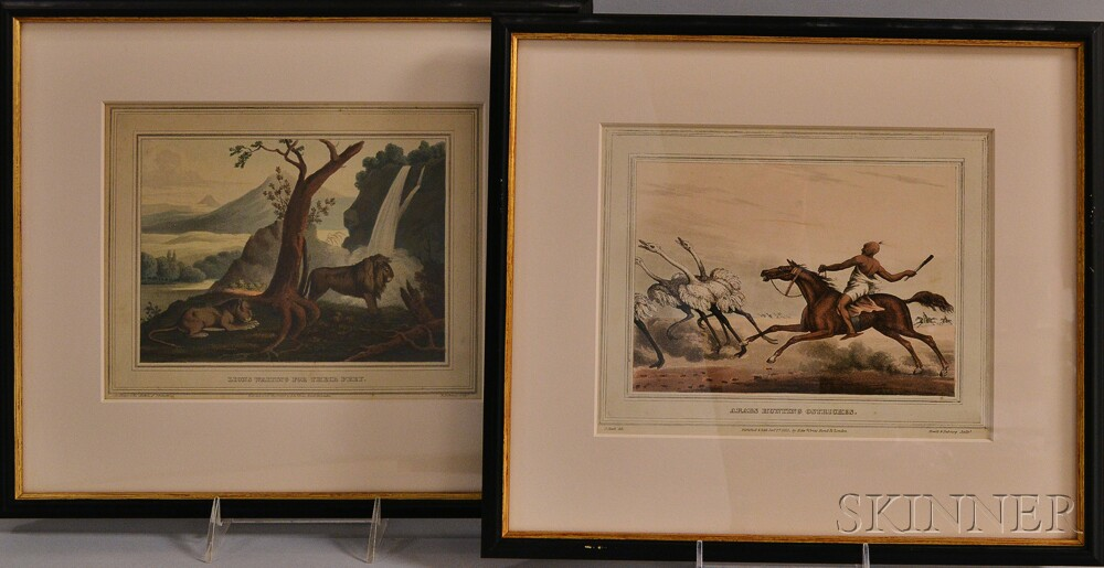Two Framed Book Plates from Arabs Hunting Ostriches   and Lions Waiting For Their Prey