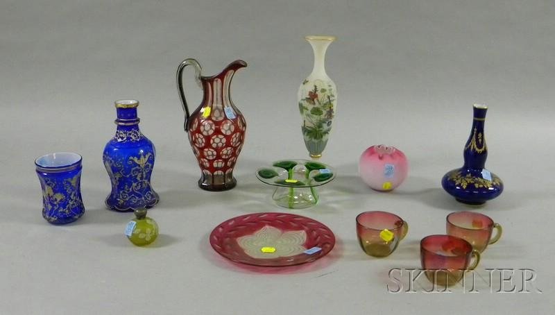 Twelve Pieces 19th Century Colored Art Glass and Ceramics