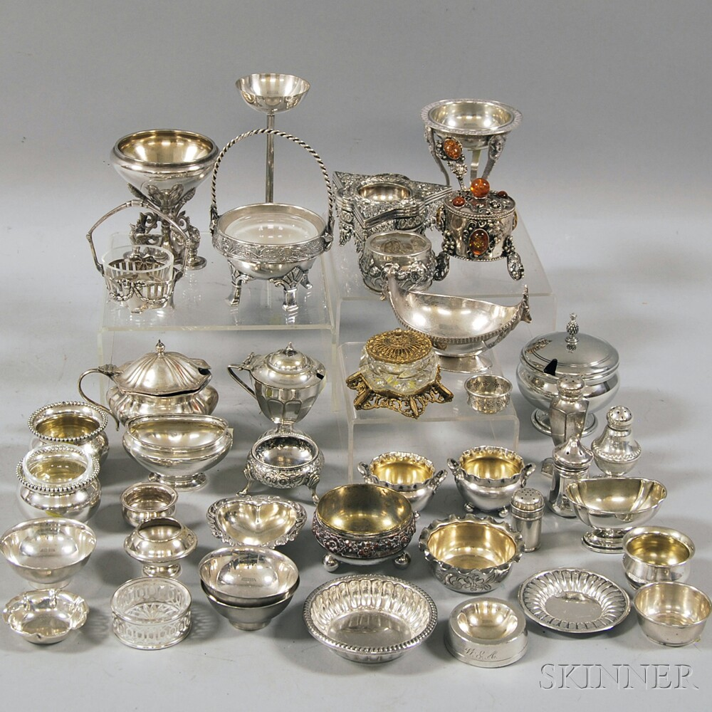 Approximately Forty Silver and Plate Salts