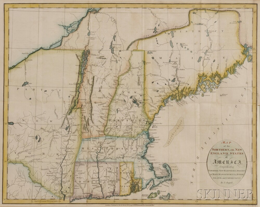 New England. John Russell (c. 1750-1829) Map of the Northern or New ...