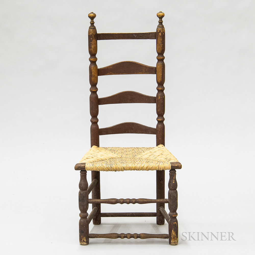 Country Turned and Red-painted Maple Ladder-back Side Chair
