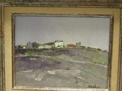 Framed Oil of a Hillside Village