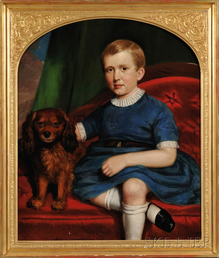 Joseph Greenleaf Cole (Boston and Maine, 1806-1858)      Portrait of a Boy in Blue Seated Beside His Dog on a Red Upholstered Sofa