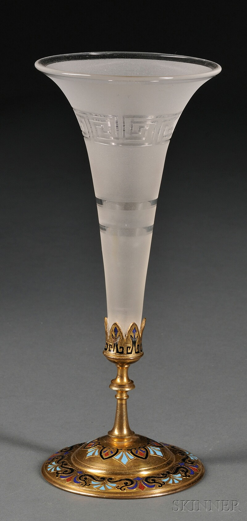 Glass and Champleve Epergne