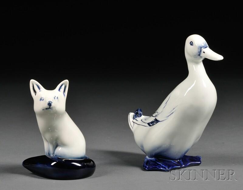 """Two Royal Doulton White Glazed """"Flambe"""" Animals"""