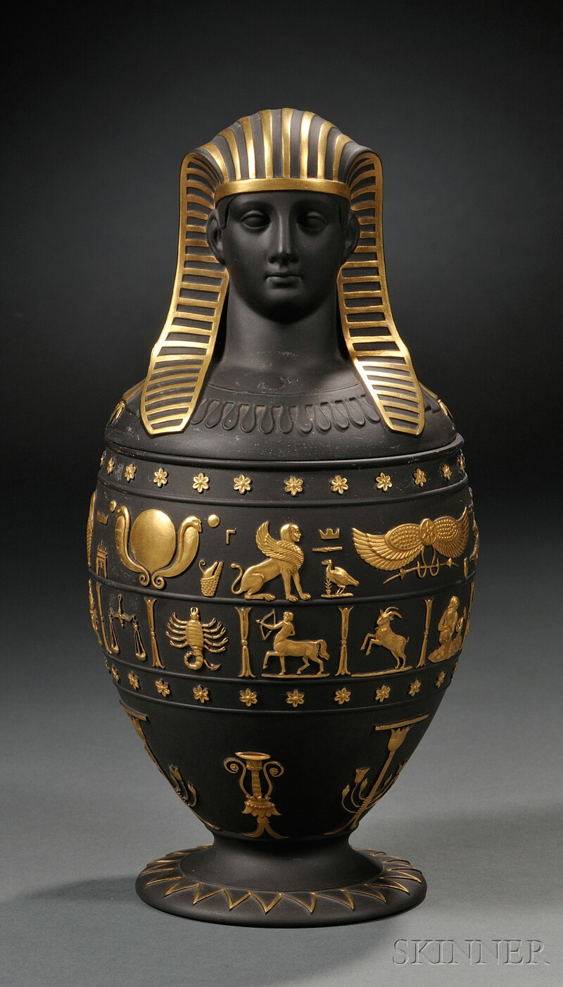 Wedgwood Gilded Black Jasper Canopic Jar