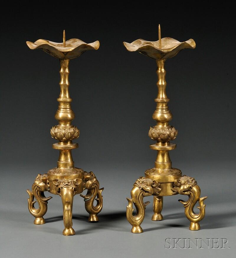 Pair of Bronze Pricket Candlesticks