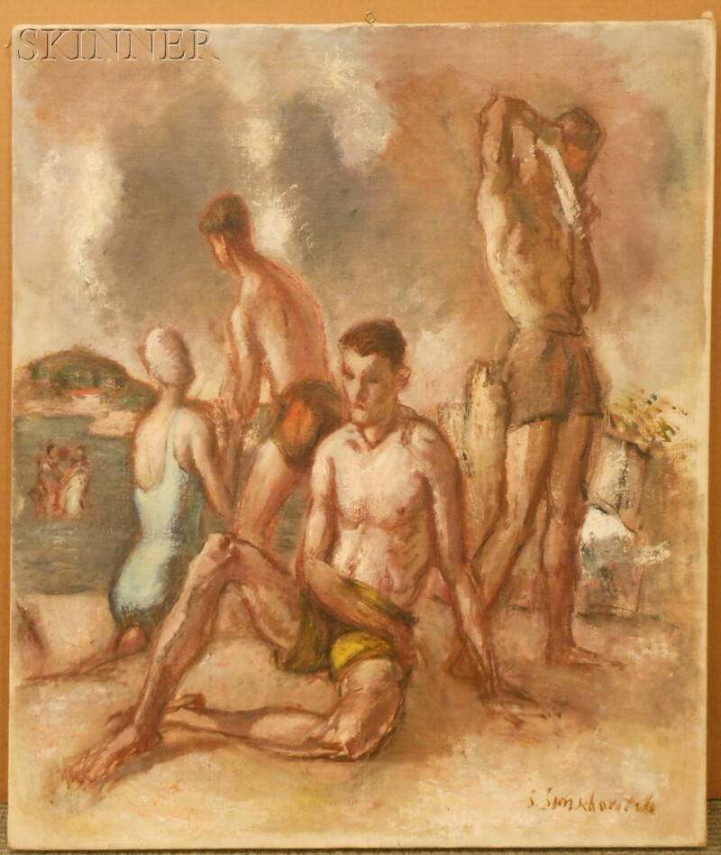 Simkha Simkhovitch (Russian/American, 1893-1949)      Figures on a Beach